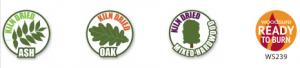 logos for kiln dried ash, oak and mixed hardwood